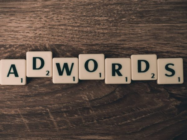 google adwords layout with scrabble tiles