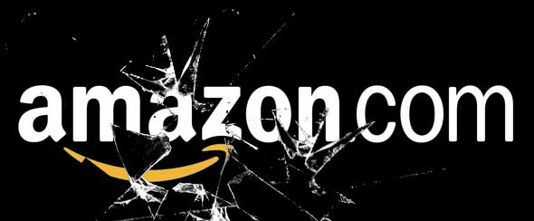 The word Amazon.com in white on a black backround with shattered glass