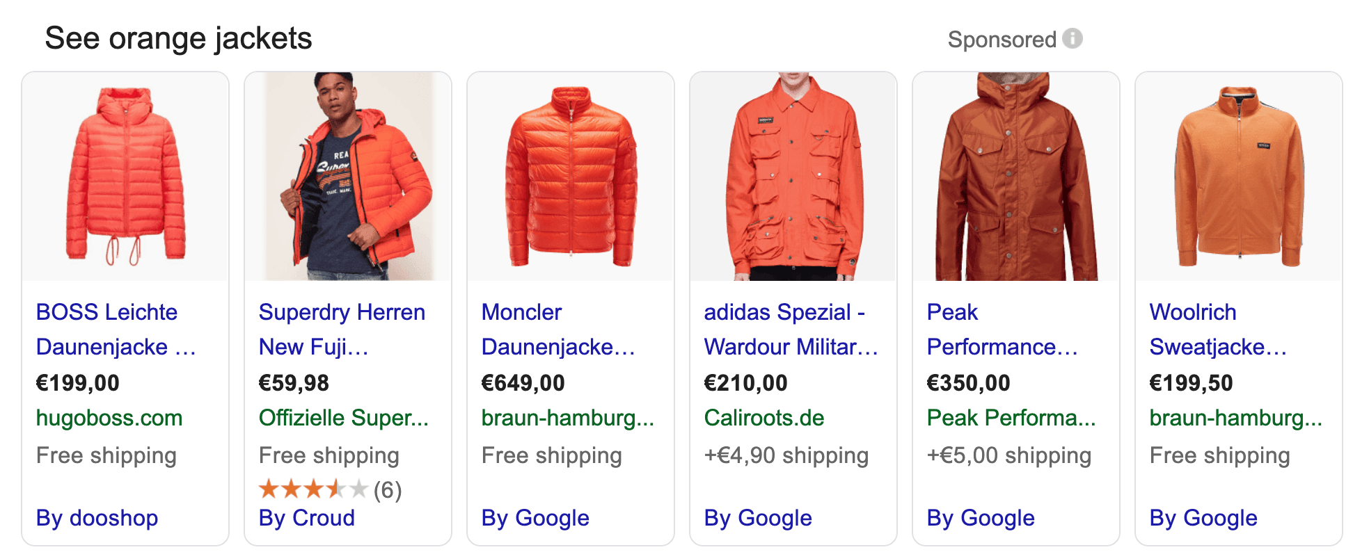 Product listing ad for orange jackets on Google