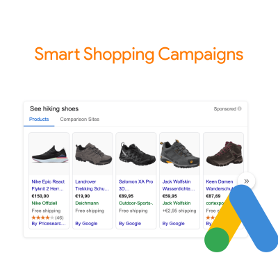 Example smart shopping campaign from Germany of hiking boots with the Google Ads logo next to it