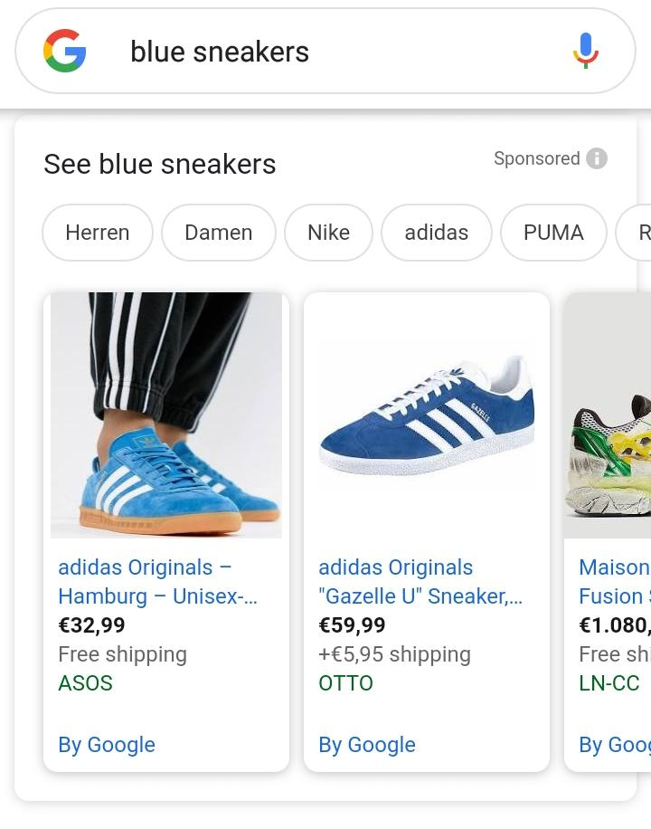Google search on mobile device with blue shoes in a carosel from Google Shopping and product listing ads