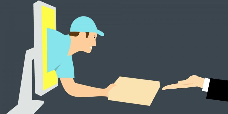 a graphic of a man coming out of a computer handing a package to a person's hand