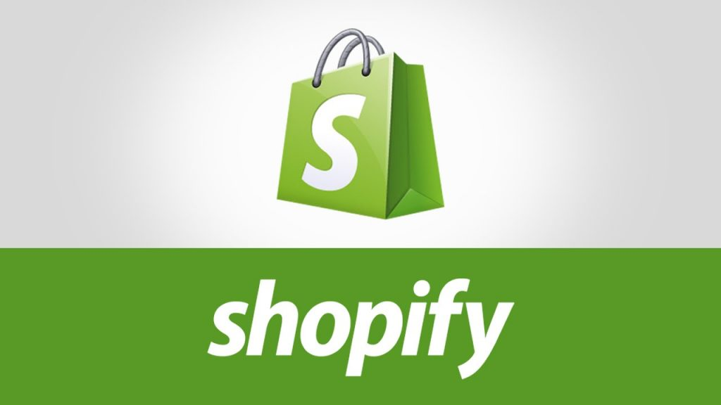 graphic of shopify logo with green shopping bag